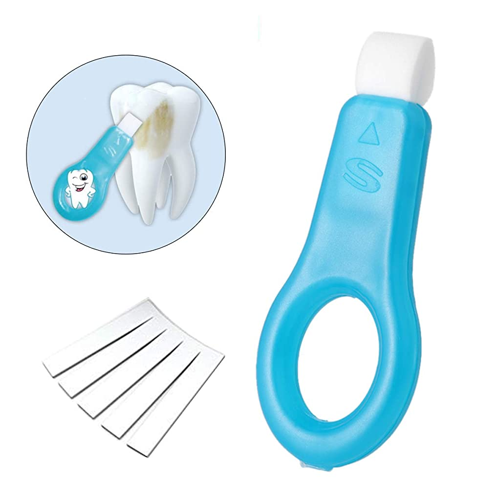 教えコーナー覗くOurine 歯 消しゴム ピーリングスポンジ ホームケア用 ホワイトニング ブラシ歯をきれいにするキット 本体 (ブルー)+替えスポンジ5枚 セット (青)