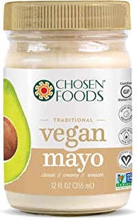 Chosen Foods 100% Pure Avocado Oil-Based VEGAN Mayo 12 oz, Egg Free, Gluten Free, Soy Free, Made with Chickpeas