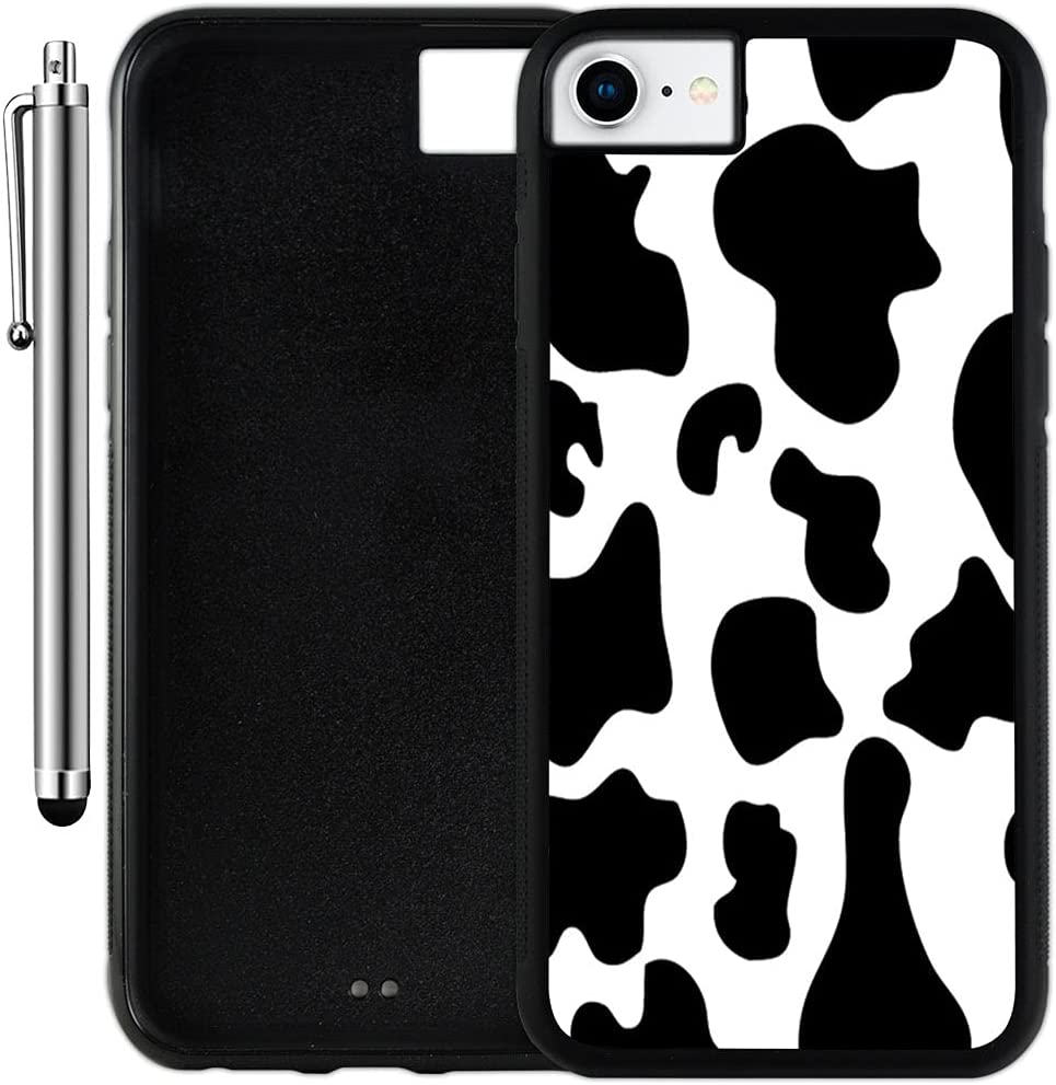 iPhone 6/78/SE (2020) Case (Cow Print) Edge-to-Edge Rubber Black Cover with Shock and Scratch Protection   Lightweight, Ultra-Slim   Includes Stylus Pen by INNOSUB
