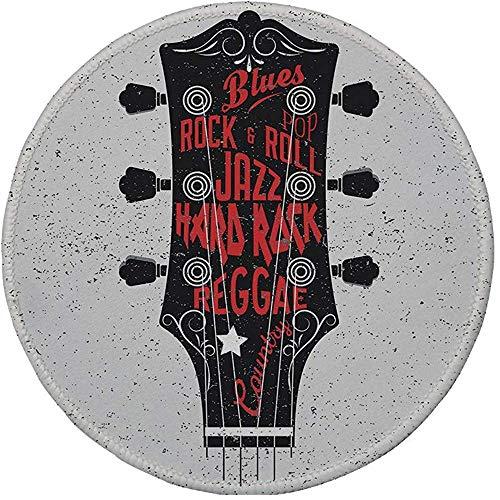 Rubberen ronde muismat, gitaar, hand getekend Genres Blues Pop Hard Rock Reggae Country Music Illustratie, Vermilion Zwart Wit