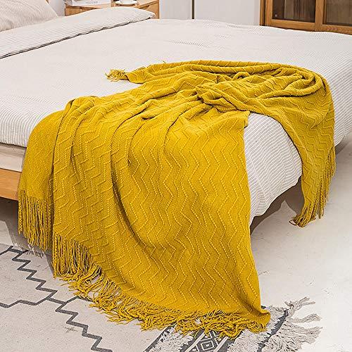 XUMINGLSJ Mantas para Sofa, Mantas para Cama de Franela Reversible, Mantas Ligeras de 100% Microfibra - Fácil De Limpiar - Extra Suave Cálido -cúrcuma_El 130 * 230cm