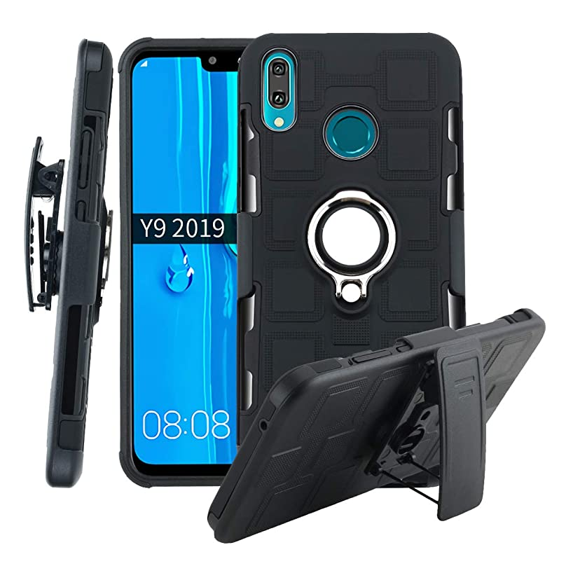 TaiY 3 in1 Protective Hybrid Cover Shockproof Rugged Phone Case 360 Full Body Kickstand Swivel Belt Clip Holster for Huawei Y9 2019/Enjoy 9 Plus - Black