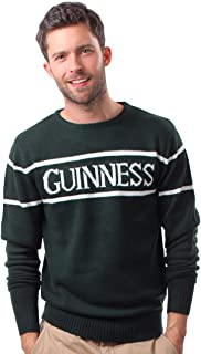 Guinness Official Mens Knit Jumper with White Text, Bottle Green Colour