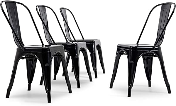 BELLEZE Set Of 4 Dining Chair Kitchen Classic Style Side Chairs With Backrest Home Cafe Stackable Black