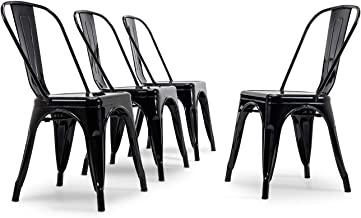 Belleze Set of (4) Dining Chair Kitchen Classic Style Side Chairs with Backrest Home Cafe Stackable, Black