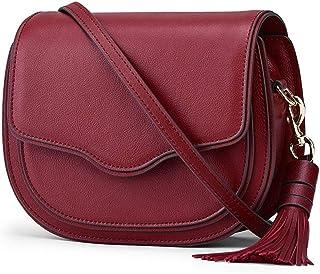Leather Handbags/Cowhide Tassel/Fashion Saddle Bag/Shoulder Bag Ms. Messenger. jszzz (Color : Red)