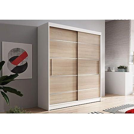 E-MEUBLES Armoire de Chambre avec 2 Portes coulissantes + eléments décoratif en aliminium | Penderie (Tringle) avec étagères (LxHxP): 150x200x61 LARA 06 (Blanc + Sonoma)