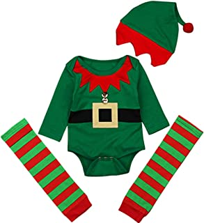 Baby Christmas Cartoon Elf Costume Long Sleeve Romper+Stripe Leg Warmer+Cap 3Pcs Set