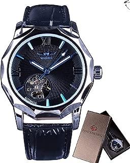 Mechanical Watches Skeleton Blue Ocean Dial Polygonal Design