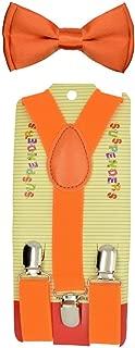 Kids Baby suspender and Bowtie Combo Set Adjustable Boys Girls Toddlers (Orange)