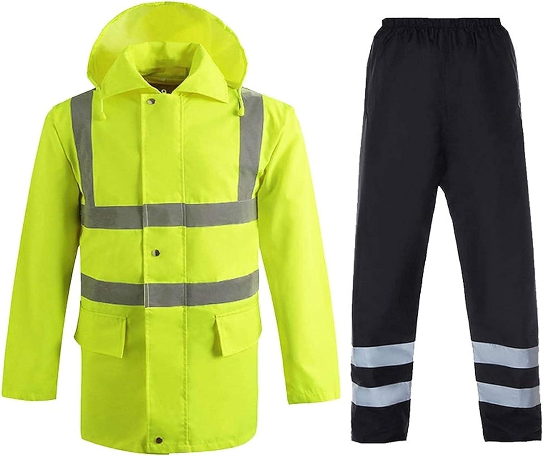 YEMON 2 Piece Reflective Suit Plain Rainsuit High Visibility Rain Jacket Trouser Waterproof Workwear (Color : B, Size : XXX-Large)