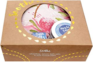 Soothe Gift Pack with Lavender Heat Pack in Waratah Print, Bath Salts and Muscle Balm by Wheatbags Love
