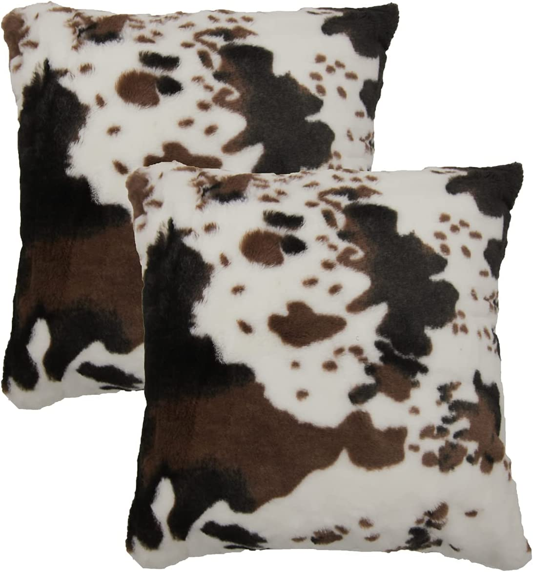 SWEET PIG Xynus Pack of 2 Cow Cowhide Fur Pillow Cover Throw Cases Animal Skin Farmhouse Decor Cozy 18x18 Inches