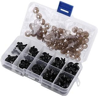 100pcs Ojos de Plástico de Muñecas Ojos con Arandelas para Fabricación de Muñecas Negro Claro 6-12mm