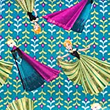 """Officially Licensed DISNEY Fabric - Features ELSA & ANNA Tossed on a Teal Blue Background 1/2 Yard x 44"""" Wide -- Unfinished Edge to Unfinished Edge (Need More than 1/2 Yard? This Will Ship as ONE CONTINUOUS PIECE!) 100% Soft Cotton -- Machine Washabl..."""