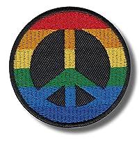 Aufnäher Regenbogen Peace Zeichen 6 x 6 cm