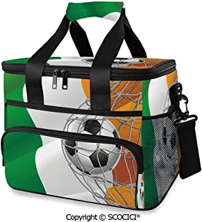 SCOCICI Cooler Cooling Tote Bag Sports Theme Soccer Ball in a Net Game Goal with Ireland National Flag Victory Win for Camping, Picnic, BBQ, Family Outdoor Activities