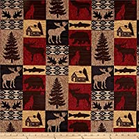 Regal Fabrics Fairbanks Cabin Patch Chenille Jacquard Red