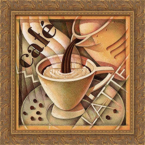 Edinjiklian, Teddy 20x20 Gold Ornate Framed Canvas Art Print Titled: Cappuccino and Cafe A