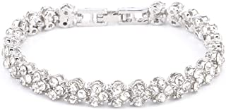 Fashion Bracelet Jewelry Silver Womens Charm Bangle Bracelets Bangle for Women Men Roman Style Woman Crystal Diamond Bracelets Gifts (Silver)