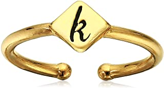 Alex and Ani Women's Initial K Adjustable Ring, 14kt Gold Plated