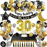 Globos Cumpleaños 30 Años Decoraciones Fiesta Oro Negro con Adorno Para Tartas Pancarta Feliz Cumpleaños Manteles Globos de Papel de Oro para Hombres y Mujeres Adultos Decoración de Fiesta