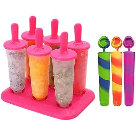 joyoldelf Popsicle Stampi, 10 Pacchi Ice Cream Stampi Set Ilicone Riutilizzabili Set Homemade DIY Ice Pop Lolly Frozen Yogurt Bar Ideale per La Preparazione di Ghiaccioli, Gelati, Sorbetti(Rosso)