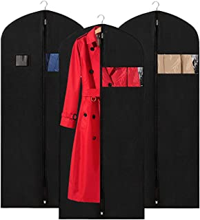 KEEGH Garment Bags Suit Cover Protector 54 inches Storage and Travel Bags Dust-Proof Breathable Long Dress Covers with Clear Window (Pack of 3)