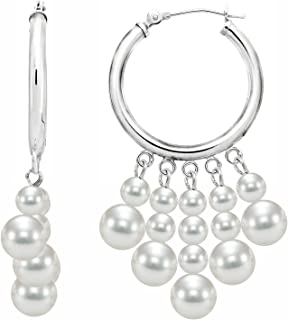 14k White Gold 5-Rows 3.5-4mm and 6-6.5mm White Freshwater Cultured Pearl Hoop Earrings
