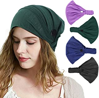 Darhoo Button Headband for Nurses, 4pcs Headband with Buttons for Face Mask Women Men,Stretchy and Elastic (Solid color)