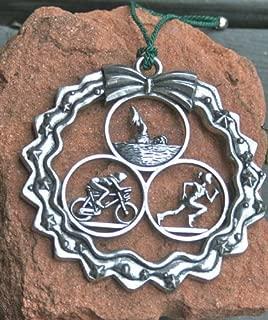 Dana Paige Designs Triathlon Ornament in Wreath - Female - Handmade Triathlon Ornaments Decorations - Unique Holiday Triathlon Gifts for Triathletes