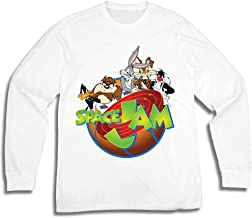 space jam Mens Group Shirt - Tune Squad and Monstars Long Sleeve Tee - 90's Classic T-Shirt