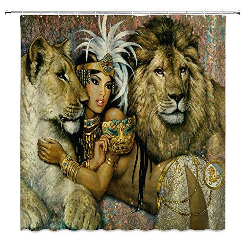 Kjhds Afrika Wild Animal Duschvorhänge Sexy Frauen und Löwe Badezimmer Dekor Vorhänge Home Badewanne Wasserdichter Vorhang Set 180 * 200cm G5013