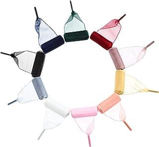 Syhood 10 pares de cordones de satén para zapatos, de organza, informales, suaves, para mujer, niña, zapatillas, multicolor