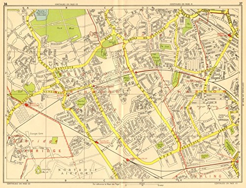 GEOGRAPHERS/' A-Z 1956 map RUISLIP Harrow Pinner Ickenham Rayner/'s Lane Eastcote