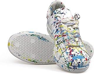 Arish Scarpe Uomo Sneakers G8 Splash in Pelle tinteggiata a Mano (Limited, Rarissime, Made in Italy) 45 EU