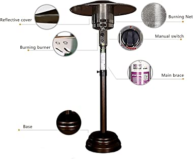 Natural Gas Patio Heater Adjustable Height, Between 150-200cm(55-78in),Includes 12-Foot-Long Natural Gas Hose,Passed CE, CSA