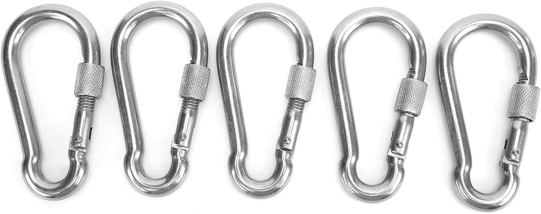 Alomejor Ranking Max 77% OFF TOP15 5pcs Locking Carabiner Clip Duty Heavy Spring Snap Hook