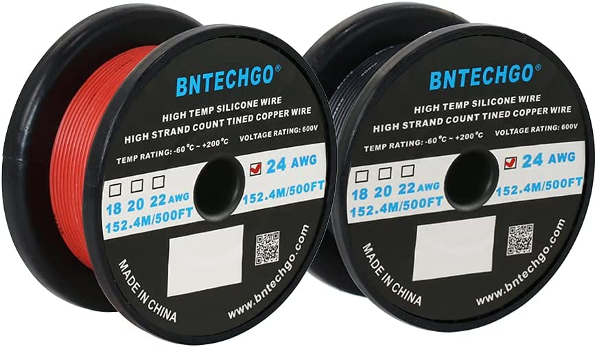 Latest item BNTECHGO 24 Gauge Silicone Wire Spool And Black 500ft F Limited price Each Red
