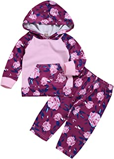 YOUNGER TREE Newborn Infant Baby Girl Kids Clothes Hoodie Fall Outfits Long Sleeve Floral Sweatshirt+Pants Clothing Set