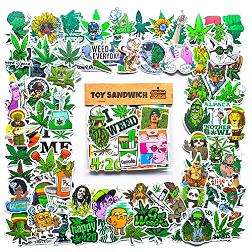 90 pcs Smoking Green Sticker Pack - Use as Cannabis Weed Leaf...