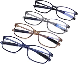 AQWANO 4 Pairs Computer Reading Glasses Blue Light Blocking UV Protection Lightweight Flexible TR90 Unbreakable Readers for Women Men +3.0