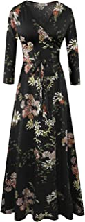 Women's Fall Casual Faux Wrap V Neck Floral Long Maxi Dress