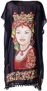 Kaftano per donna Re Regina (blu marine) in chiffon di seta con stampe artistiche che nascono da quadri. Taglia Unica,copr...