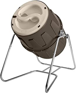 Suncast Resin Tumbling Outdoor Compost Barrel - 6.5 Cubic' Composter with Latching Dual Lids and Galvanized Steel Frame - Gray