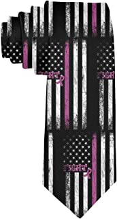 Men's Classic Necktie Skinny Novelty Fight Breast Cancer Pink Neck Ties Great for Business, Wedding, Groom, Groomsmen, Gen...