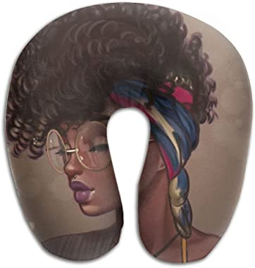 SARA NELL Memory Foam Neck Pillow African American Women U-Shape Travel Pillow Ergonomic Contoured Design Washable Cover for Airplane Train Car Bus Office