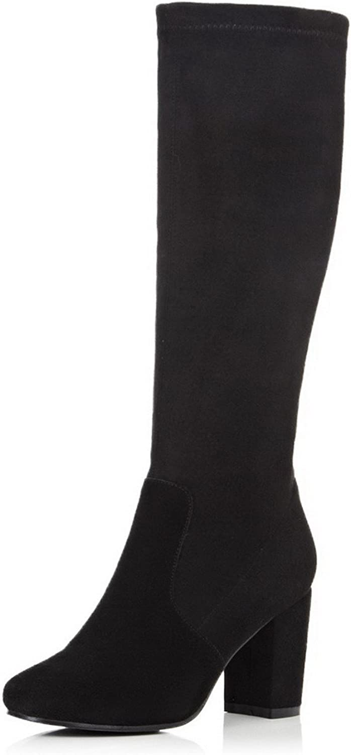 WeenFashion Women's Round Closed Toe High-heels Frosted Zipper Knee-high Boots