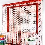 Pindia 6 Feet Set Of 2 Red String Net Heart Design Door Window