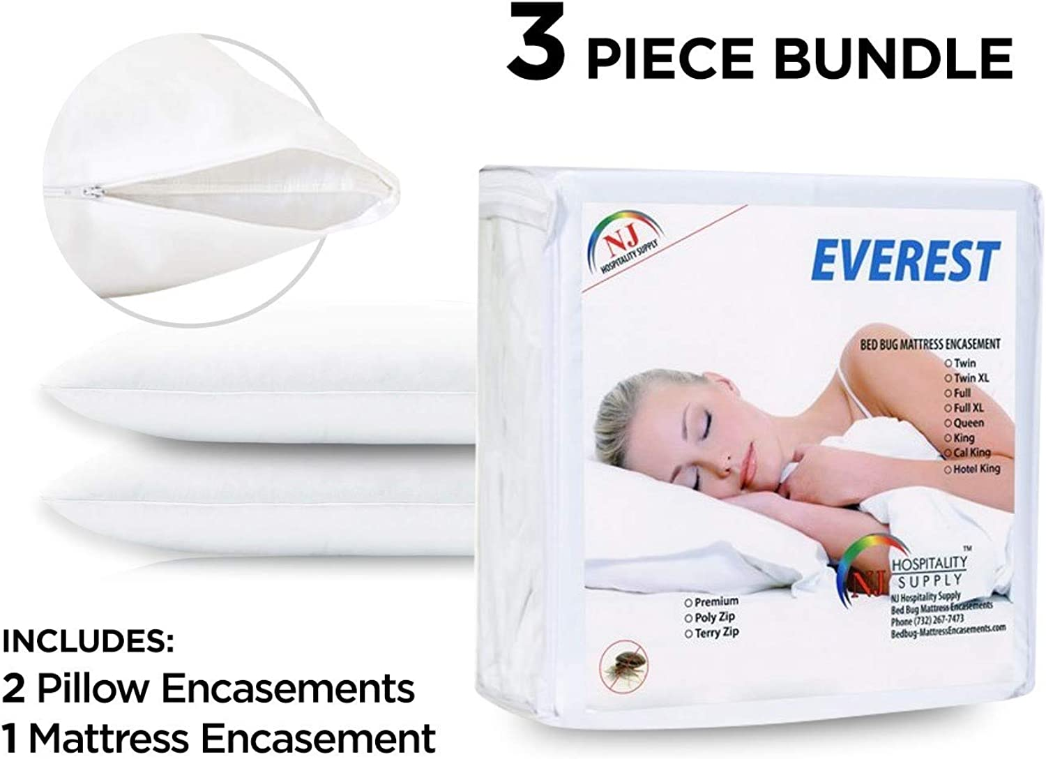 Everest Supply Premium Queen Size Encasement + 2 Standard Size Pillow Predectors (Bundle Deal, Queen Size 60x80+9  (fits 9-11  Depth)